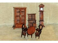 Dark Wood Dolls House Furniture,Table,Chairs,Cabinets & Grandfather Clock( 7.25 inches tall), Histon