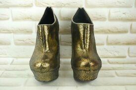 Faith Gold Snakeskin Ankle Boots UK Size 6