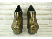 Faith Gold Snakeskin Ankle Boots UK Size 6