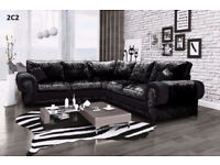TANGO CORNER SOFA IN CRUSHED VELVET BLACK SILVER | 1 YEAR WARRANTY | UK EXPRESS DELIVERY