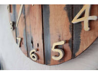 Rustic Pallet Wood Wall Clock Old Style Art Industrial Vintage Shabby Chic 47cm