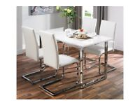 Brand New 5 Piece MILAN White Gloss Table 4 Faux Leather Chairs Dining Set