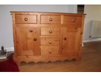 Side board unit made of solid pine