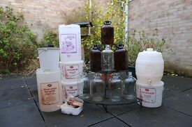 Wine making storage. Jars, buckets, numerous demijohns & barrels