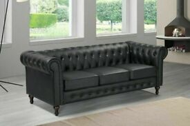 BEST FURNITURE- CHESTERFIELD PU LEATHER SOFA 3 SEATER-CASH ON DELIVERY
