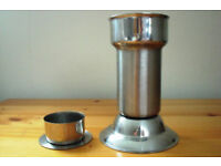Vintage 2-in-1 stainless steel candlestick or tea-light holder - flip insert to convert. £3 ovno