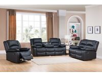 ***SALE***MIAMI BLACK NEW LEATHER RECLINER FREE DELIVERY***