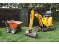JCB Micro Excavator And Operator Hire No VAT
