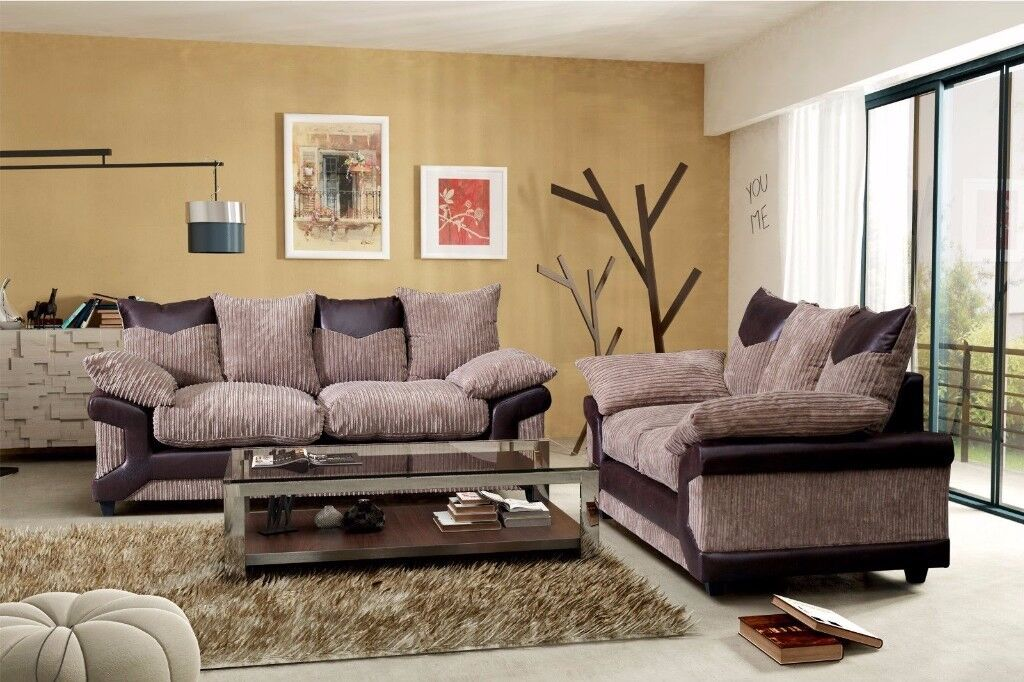 BEST SELLING -- WOW NEW DINO JUMBO CORD CORNER OR 3 AND 2 SEATER SOFA--BLACK/GREY OR BROWN/MINK--