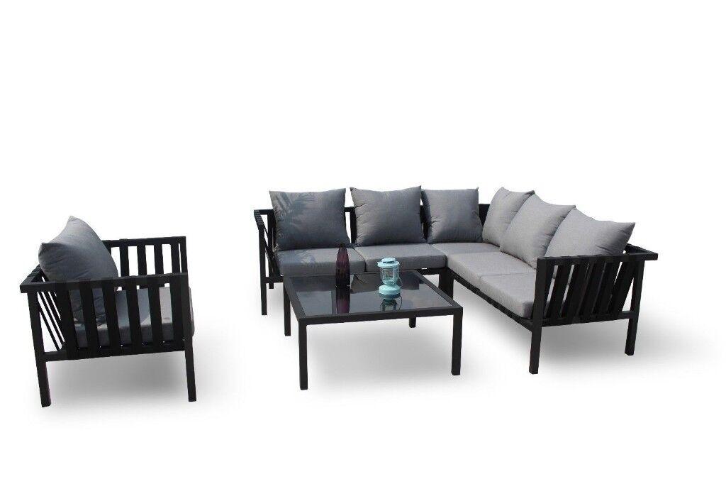 Rattan Garden Furniture Corner Sofa Grey: Maze Rattan Garden Furniture Sunbrella Flex Corner Sofa