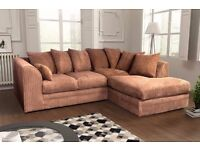 Fabulous Brand New Jumbo Cord Corner Sofas. Many colours. black, grey, brown,beige...quick delivery