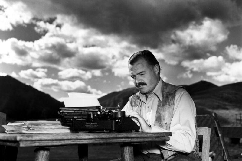 Ernest Hemingway Writting Black And White 8x10 Photo Print