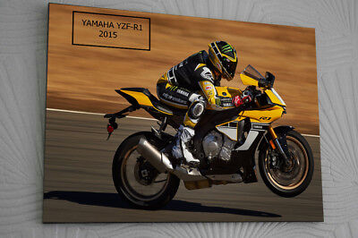 """YAMAHA YZF-R1M CLIP GLASS 16""""x12""""Framed Canvas Signed """"Great Gift"""""""