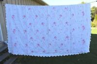 Old Linen Style Bedsheet - Cabbage Roses and Ribbons