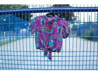 Vintage 80s Colourful Patterned Retro Top - Size S Bright Colourful, Colour