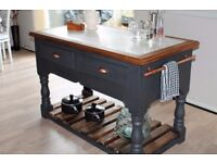 Rustic kitchen island with marble top