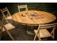"RE-Purposed Cable Reel 63"" Inches Diameter. Garden Furniture, Seating Table."