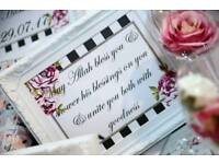 Wedding favours, frames and cake tables