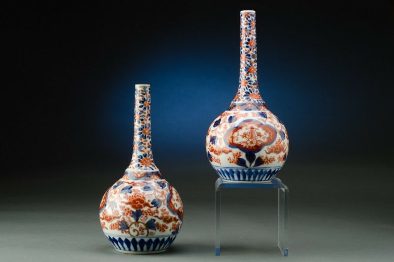 Pair of 19th Century Imari Bottle Vases