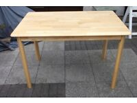 solid wood Pine kitchen dining Table size 115 cm x 70 cm x 74 cm high 3.8 feet x 2.3 feet