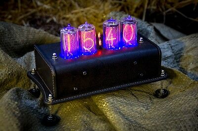 Z5660M Handmade NIXIE CLOCK Real Leather Case (Z566M) Type Z568M, IN-18 tubes