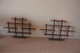 2 sets of Wooden Shelves for small collectables/trinkets