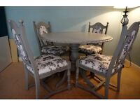 Shabby chic, antique round dining table and 4 chairs