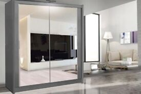 CASH ON DELIVERY-BEAUTIFUL NEW STYLISH CHICAGO 2 DOOR FULL MIRROR BEDROOM WARDROBE-CASH ON DELIVERY