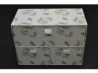 Three drawer, white & pink floral storage box by TU at SAINSBURYS