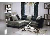 New Bella Corner Sofa In Crushed Velvet In Black/Silver