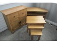 AS NEW OAK TV CORNER UNIT, SIDEBOARD & NEST OF TABLES solid, excellent quality and as new
