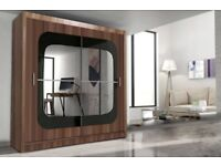 HALF PRICE OFFER**STYLISH CURVED MIRRORS**BRAND NEW 2 DOOR SLIDING WARDROBE IN 203CM SIZE, 6 COLORS