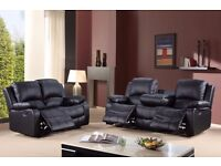 New Modern Napoli Sofa 3+2 Seater Recliner Cup holder Sofa Bonded Leather Black