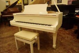 New Bentley baby grand piano, in white. Free Uk delivery and bench
