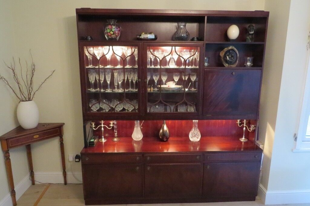 Dining Room Display Cabinet With Cupboards Shelving And Drop Down Bar Section Good Condition