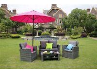 BRAND NEW Yakoe 4 Seater Grey Rattan Sofa Garden Furniture Patio Set Table Chairs