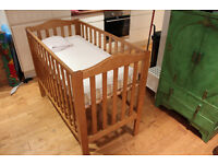 John Lewis Cot with Pocket Spring Mattress and Sheets