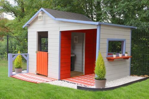Relativ Kinderspielhaus GABY aus Holz mit Veranda in Nordrhein-Westfalen MQ27