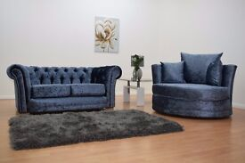 BARGAIN OF 2017! Jaw Dropping Classic Chesterfield Sofas + Cuddle Chair / Crush Velvet