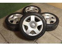 "Genuine Audi 5 Spoke 16"" Alloy wheels & Tyre 5x112 A3 A4 A6 VW Golf Passat T4"
