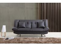 BLACK MONROE LEATHER SOFA BED ONLY £179