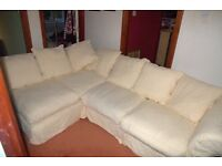 CORNER SETTEE DOUBLE SOFA BED, METAL ACTION, IN GOOD CONDITION,REMOVABLE WASHABLE COVERS, CREAM