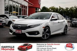 2016 Honda Civic Sedan Touring CVT 1-Owner|Clean Carproof|Sunroo