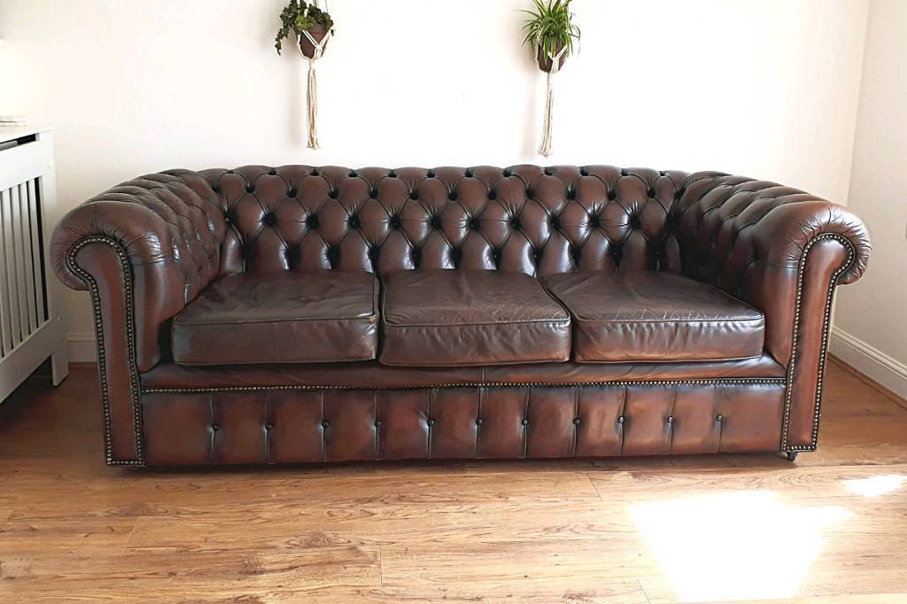 Vintage 1970\'s 3 seater brown leather Chesterfield sofa | in Exeter ...