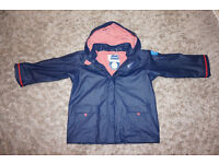 BN - JoJo Maman Bebe Navy Fishermans Jacket with Red & White Striped Lining Aged 5-6 yrs - RRP: £36