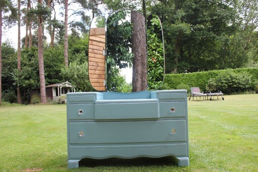Hand painted 1940's Lebus VintageShabby Chic Dressing Table & Mirror