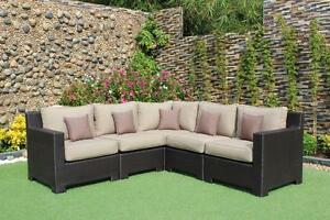Provence Wicker Sunbrella Spectrum Mushroom Corner Sectional Sofa by CIEUX