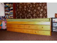 Single solid wood bed with pull out bed and 2 storage drawers,mattresses