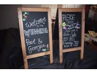2x double sided chalk boards
