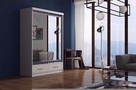 Brand New German MARGO Full Mirror 2 Door Sliding Wardrobe w/ Shelves, Hanging